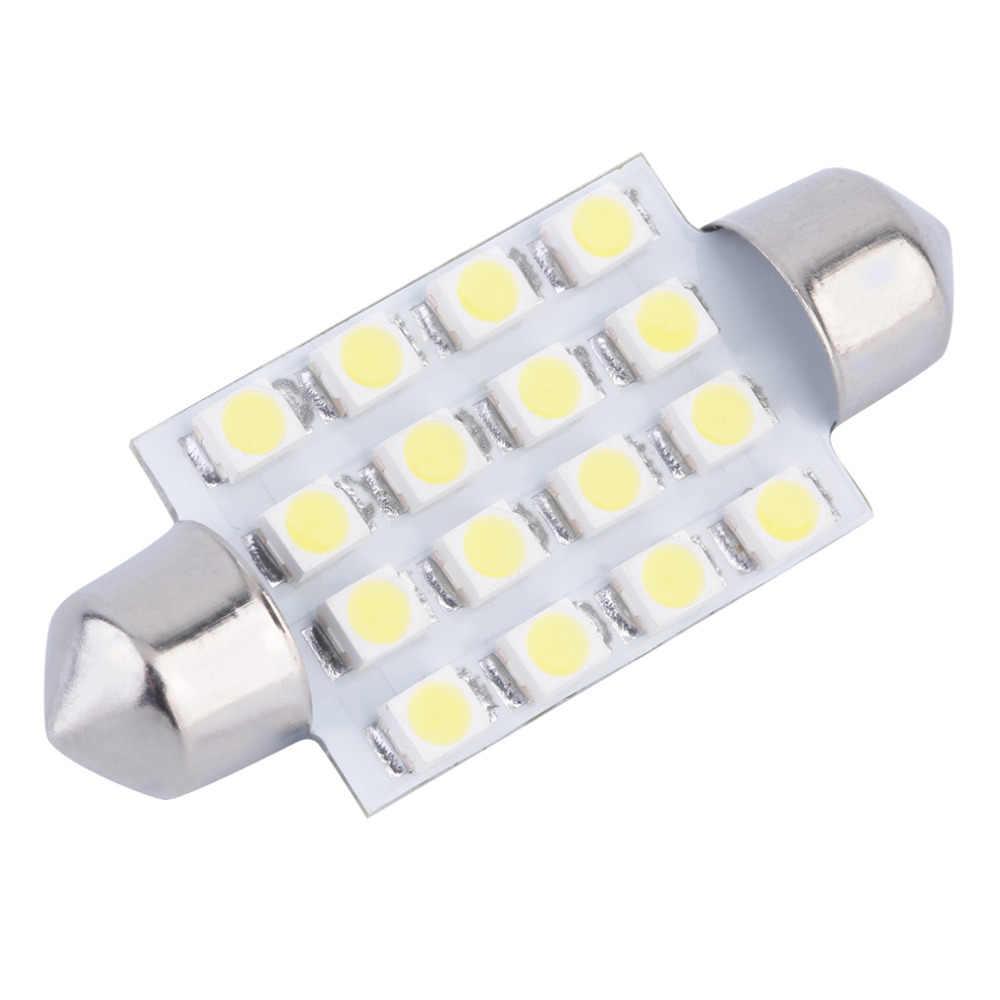 1 Pcs 41 Mm 1210 3528 16 SMD LED Putih Mobil Dome Memperhiasi Interior C10w Bulbs Auto Mobil Memperhiasi LED licence Plate Dome Atap Mobil