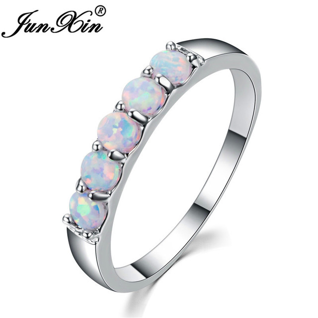 Junxin Top Quality 925 Sterling Silver Filled Best Wedding Bands Jewelry Unique Round White Fire Opal