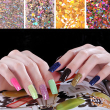 1 bolsa 2g Laser redondo, largo, hexagonal, polvo de manicura, uña de color mágico, estrella de cinco puntas, Nail Art Decoration, brillo de uñas