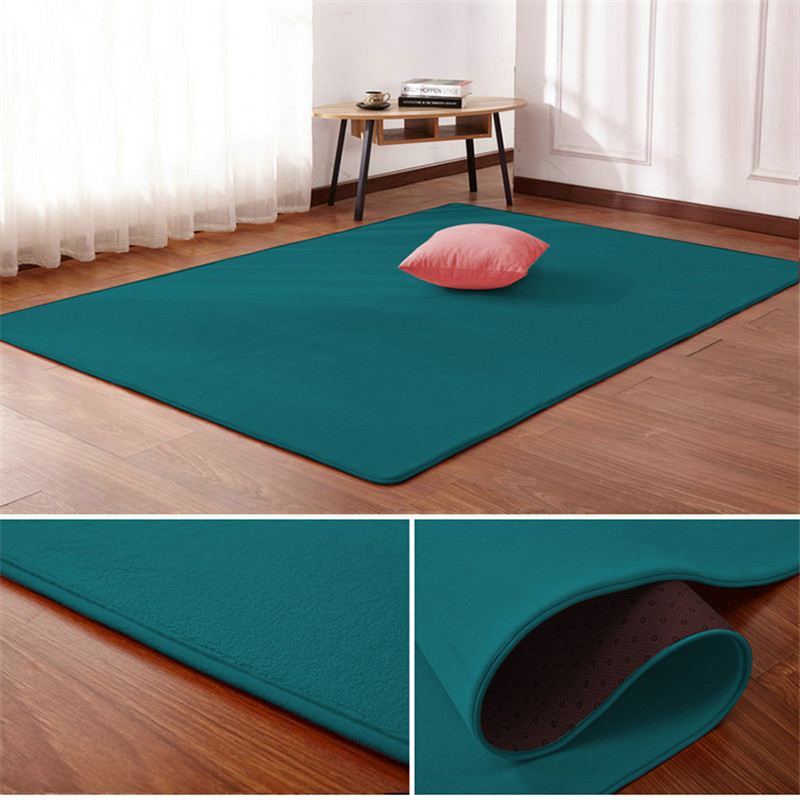 Nordic Coral Velvet Carpet Living Room Floor Mat Bedroom Non-slip Blanket Living Room Rug Bedroom Bedside Rectangular Floor Pad