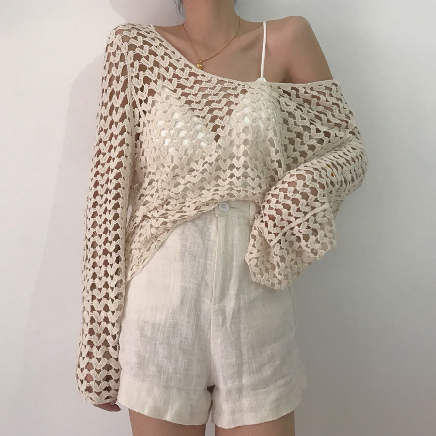 Boho Casual Smock Tank Tops V-neck Seaside Holiday Ethnic Style Retro Loose Hollow-out Tops Vest Summer Women Tops For Beach New