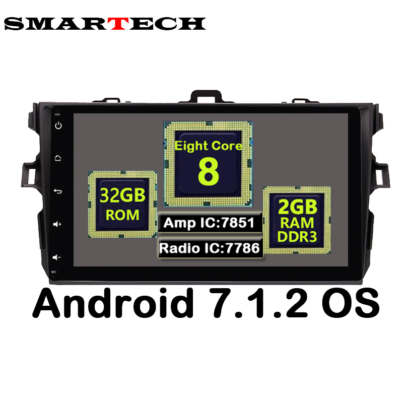 Octa Core 9 IPS Screen 2G RAM 32G ROM 2Din Indash Android For Toyota Corolla 2008 2009 2010 2011 Car Radio Audio Player GPS