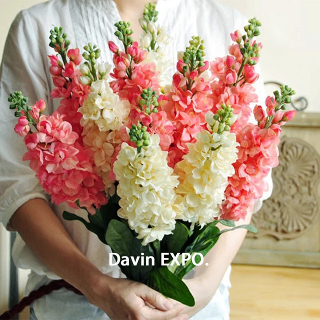 New 5pcs Artificial Silk Hyacinth Flower Bouquet for Wedding Party Decor Home decoration-in Artificial & Dried Flowers from Home & Garden on ...