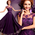 WEONEDREAM Elegant Purple Bride Wedding Dress Long Bridesmaids Dress Imitation Silk Flower Short Sleeve Party Dresses Gown
