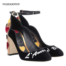 VIISENANTIN 2019 New Women Chunky Heel Pumps Shoes Black Wine Red Velvet Heart Real Leather Wedding Shoe Amazing Female