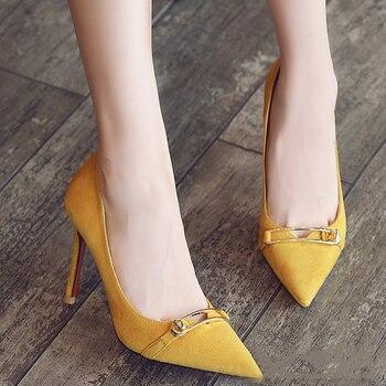 2018 summer new  women cusp heels four colors suede low cut metal button ladies high heels shoes simple fashion women pumps