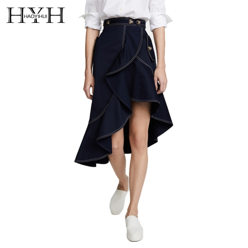 HYH HAOYIHUI Layered Women Irregular Hem Mid Skirt Button Embellished Defined Line Vintage Asymmetric Navy Color