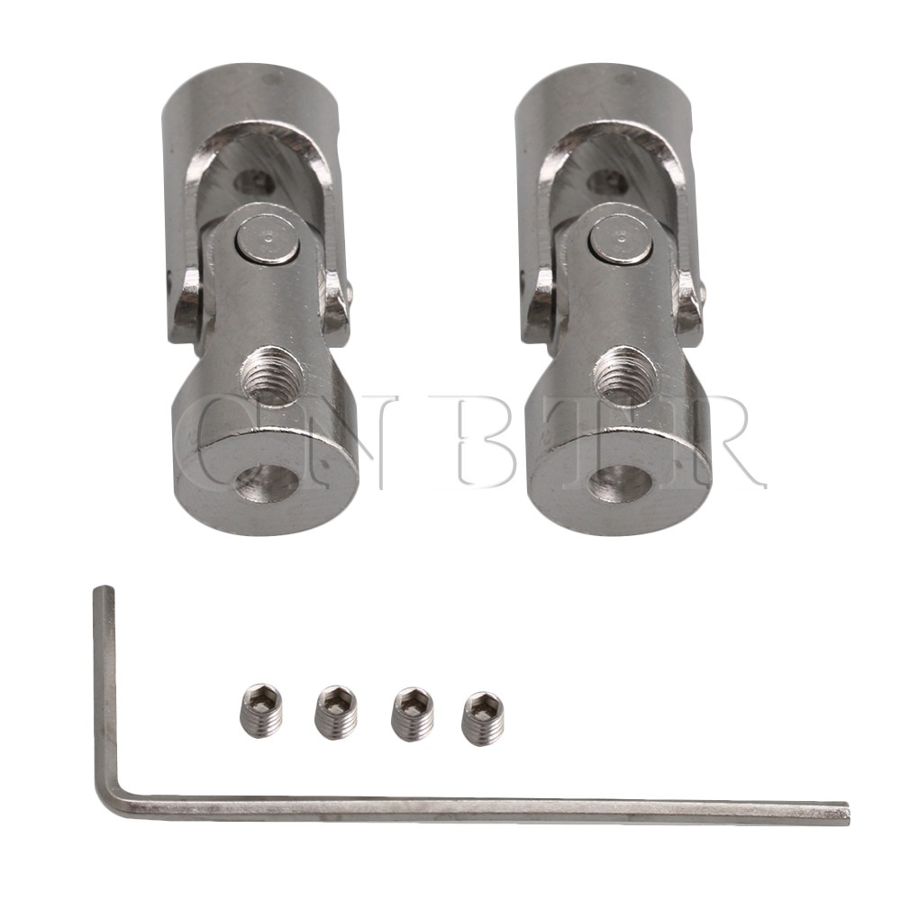 2PCS CNBTR 2mm to 3mm ID Silver 45# Steel Rotatable Motor Shaft Universal Joint Connector Metal Coupling w/Hex Wrench Screws image