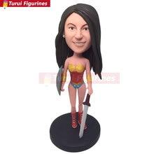 Wonder Woman Personalized Wonder Woman Clay Figure Wonder Woman Bobble Head Wonder Woman Birthday Cake Topper Girlfriend Daughte wonder