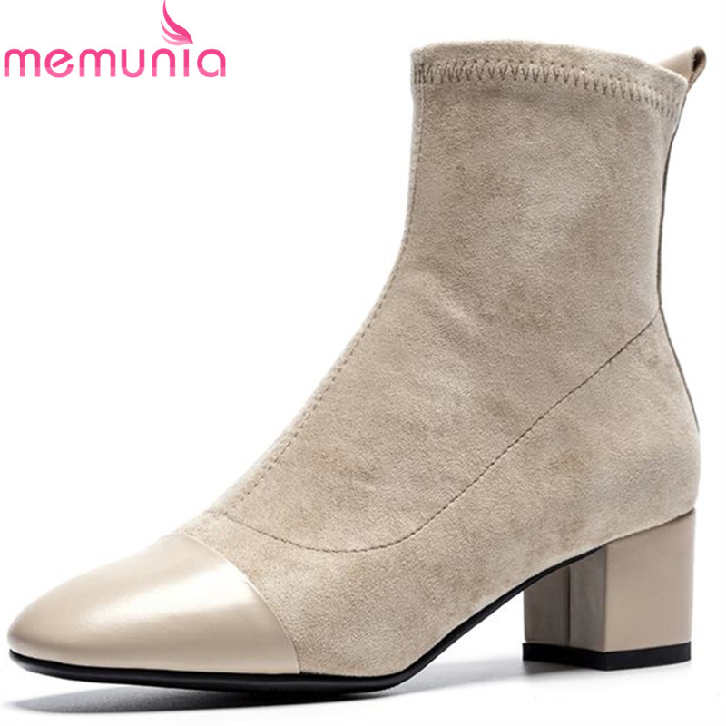 MEMUNIA fashion flock+genuine leather boots fashion autumn winter ankle boots for women square med heels boots casual shoes liren autumn winter snow boots square high heels shoes casual martin boots women fashion zipper genuine leather ankle boots