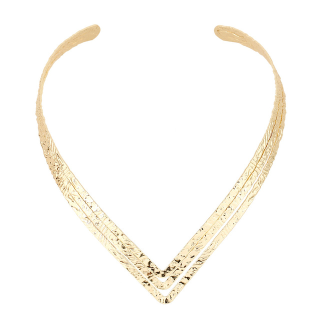 bd372ba61b81 Oro antiguo plata en Forma de V Collar De La Mujer Gargantilla Collares  Collares de