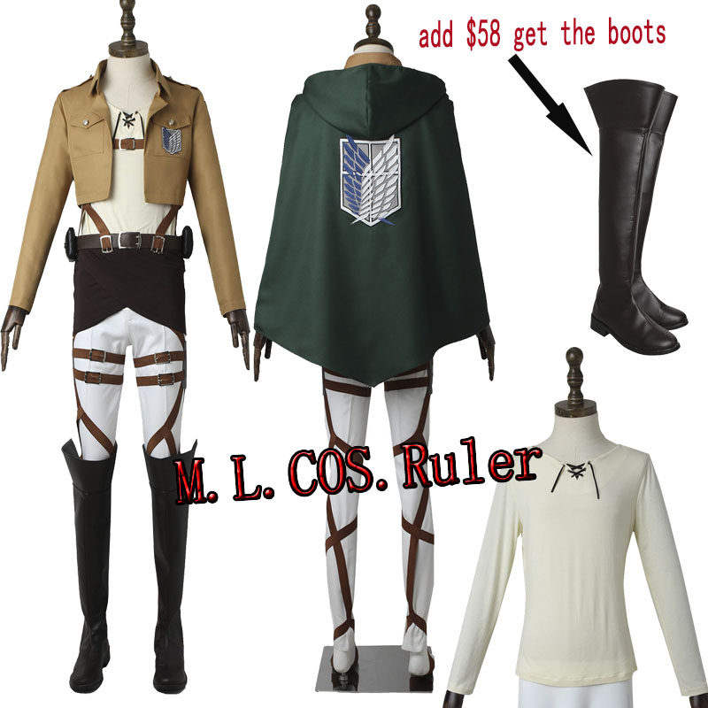Anime Attack on Titan/Shingeki no Kyojin Eren Yeager Cosplay Costume Scout Legion For Halloween Customize Free Shipping
