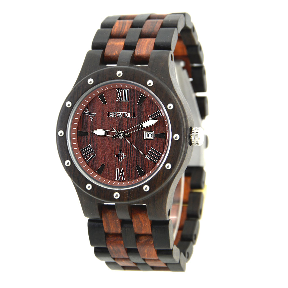 BEWELL 109A Wood Watches Men Luminous Hands Fashion Casual Wristwatch With Wooden Band Auto Date GIFT BOX ZS-W109A bobo bird brand new sun glasses men square wood oversized zebra wood sunglasses women with wooden box oculos 2017