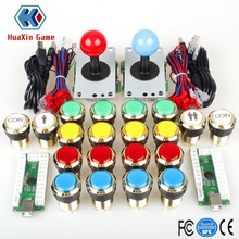 Due giocatori Arcade Kit fai da te Parti Encoder USB per PC Joystick + Luci lampada LED dorate Pulsanti per Mame KOF Raspberry Pi 2 3