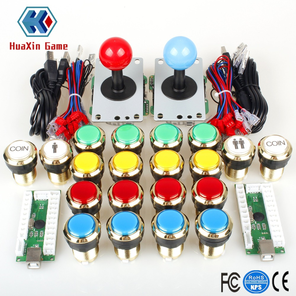 Two Player Arcade DIY Kits Parts USB Encoder to PC Joystick + Gilded LED Lamp Lights Push Buttons for Mame KOF Raspberry Pi 2 3