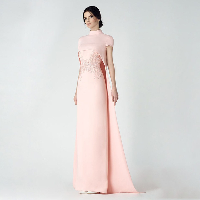 cb65b284df Source https   www.aliexpress.com store product Light-Pink-High-Neck-Evening- Dresses-With-Shawl-Floor-Length-Formal-Dress-Straight-Evening-Gown-vestidos   ...
