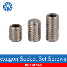 50Pcs DIN913 M3 M4 M5 304 Stainless Steel Metric Thread Grub Screws Flat Point Hexagon Socket Set Screws Headless