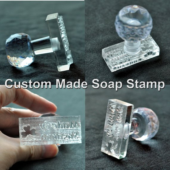 Custom made SOAP STAMP, personalized cookie stamp, Logo Embosser Handmade Acrylic Glass Soap Stamp Soap Mold /Wedding Stamp