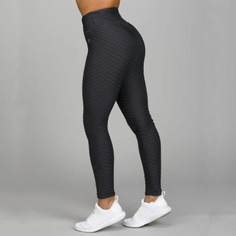 Image 2 - New Fitness Anti Cellulite Texture Leggings Women Pants Solid High Waist Workout Wrinkle Leggings Pants-in Leggings from Women's Clothing