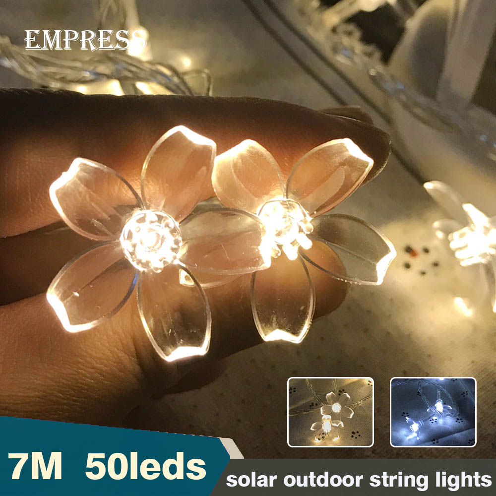 7M 50 Leds Powerful Solar Led Light String Waterproof Outdoor Flower Led Chain Garland Fairy Lights Christmas Wedding Decoration