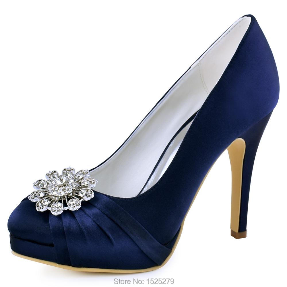 Women Bride Bridesmaids Platforms Pumps EP2015-PF-NW  Ivory Purple High Heel Satin Rhinestones Evening Party Shoes