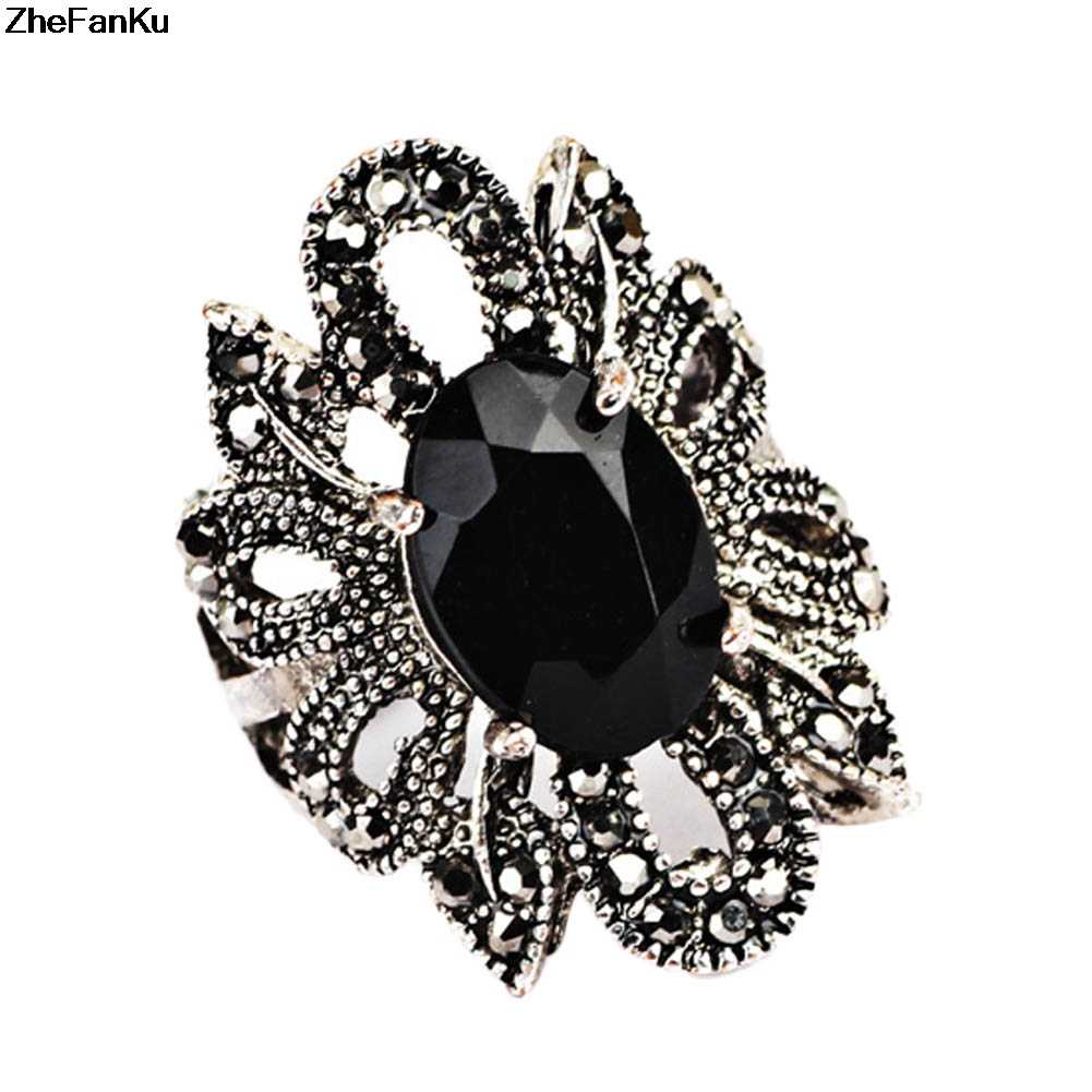 Retro คริสตัลสีดำดอกไม้แหวนยุ้ยแหวนหญิงแฟนซีของขวัญนิ้วมือตุรกีเครื่องประดับ Anel Aneis