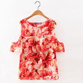 Sexy Womens Off Shoulder Tops Summer Short Sleeve Floral Printed Ruffles Shirt Elegant Ladies Blusas Femininas Tops