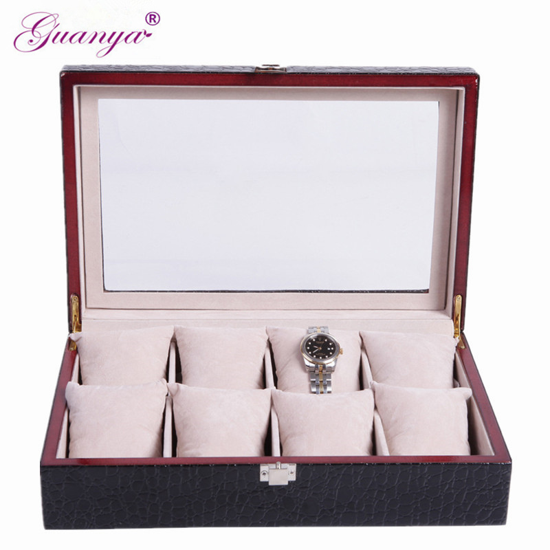 guanya New 8 Grid Insert Slots Black PU Leather Wrist Watch Display Slot Case Box Jewelry Storage Holder Organizer Windowed Case 2018 high quality pu leather 12 slots wrist watch display box storage holder organizer watch case jewelry dispay watch box