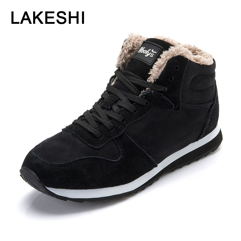 LAKESHI Winter 2018 Men Sneakers Outdoor Men Vulcanize Shoes Lace-Up Keep Warm Shoes Comfortable Cotton Shoes Black Male Sneaker