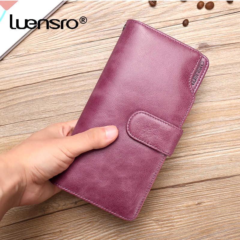 Billeteras 2018 Cartera de cuero genuino para mujer, billetera larga para mujer, cartera con cremallera, monedero con correa para iPhone 7