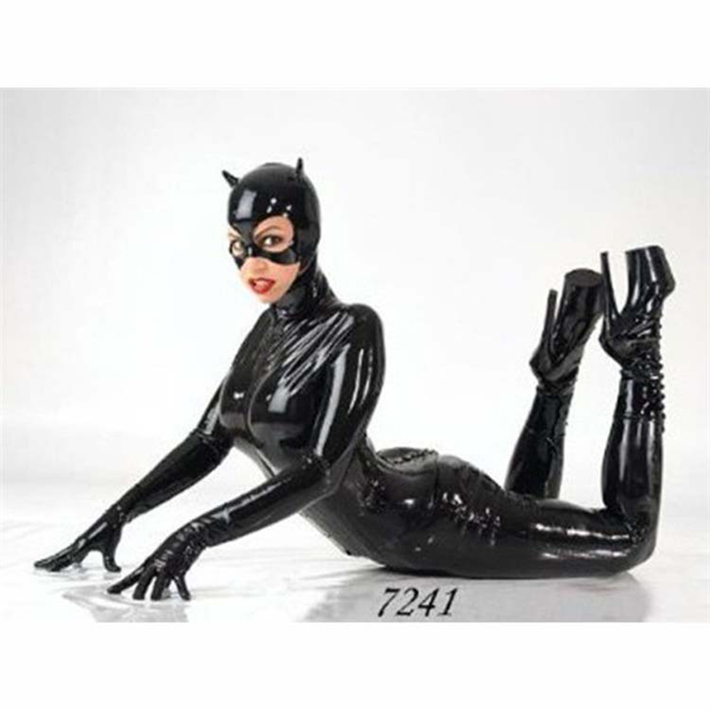More Type Women Black PU Patent Leather Catsuit Costume Women Jumpsuit Stretchable with Zipper Female Sexy Cat woman Costumes