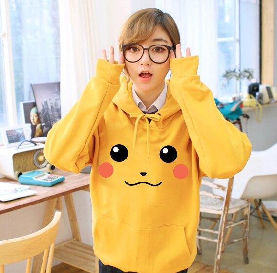Sweat Mode Manteau Pour Capuche Anime Beige Sourire jaune Femmes Visage noir À Pikachu Hoodie Pokemon orange or 2016 Hommes bleu dPfqtx8d