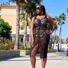 f17875f830ca1 VAZN bayanlar 2018 yeni gelmesi ünlü marka kadın spagetti kemerli elbise  seksi stil dantel baskı kılıf Lady Midi elbise WYNZ8123