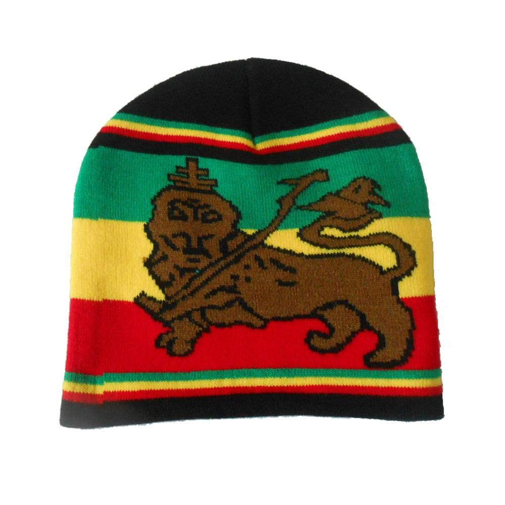 1357ba402 US $7.79 |2pcs/lot Rasta Beanie Hat Knit Striped Plain Hip Hop Cap Bob  Marley&Star Lion Of Judah Black Red Yellow Green-in Skullies & Beanies from  ...