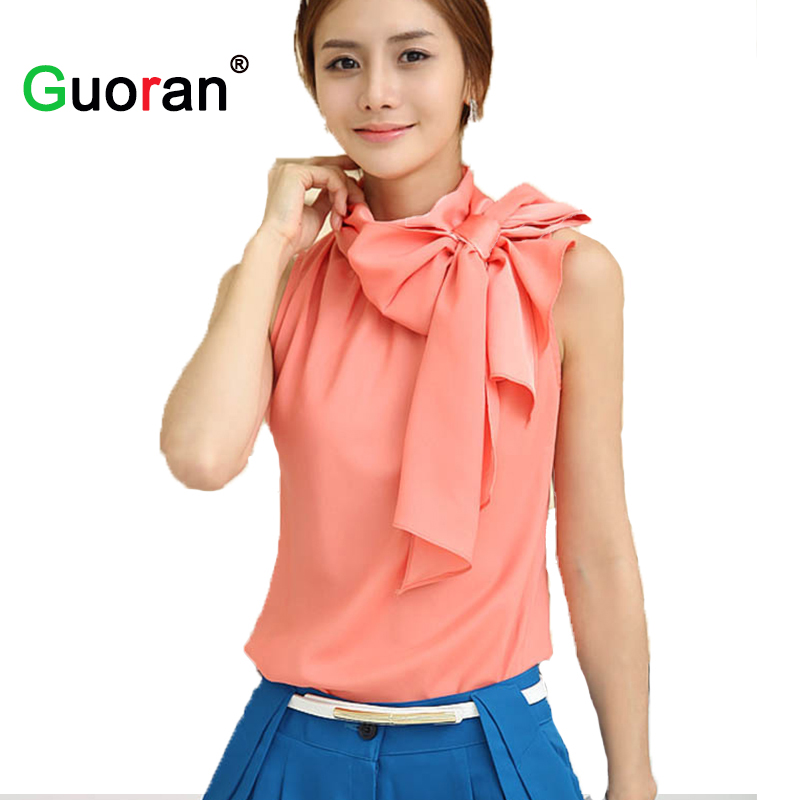 {Guoran} Office Lady Silk blouses women formal Chiffon Shirts XL bow-knot Sleeveless female tops Femme Blusa Pink White Cloth