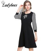 LADYBEES Plus size L- 5XL Dress Striped Sleeve Bow Black Slim Dresses Women 2017 Summer Autumn Clothing Loose Casual Preppy Girl