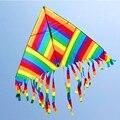 Envío de la alta calidad del arco iris delta cometa con la línea de mango de nylon ripstop cometas kite beach niño juguetes al aire libre mangas de viento
