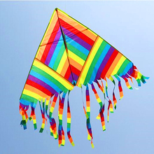 free shipping high quality rainbow delta kite with handle line ripstop nylon outdoor toys flying kite