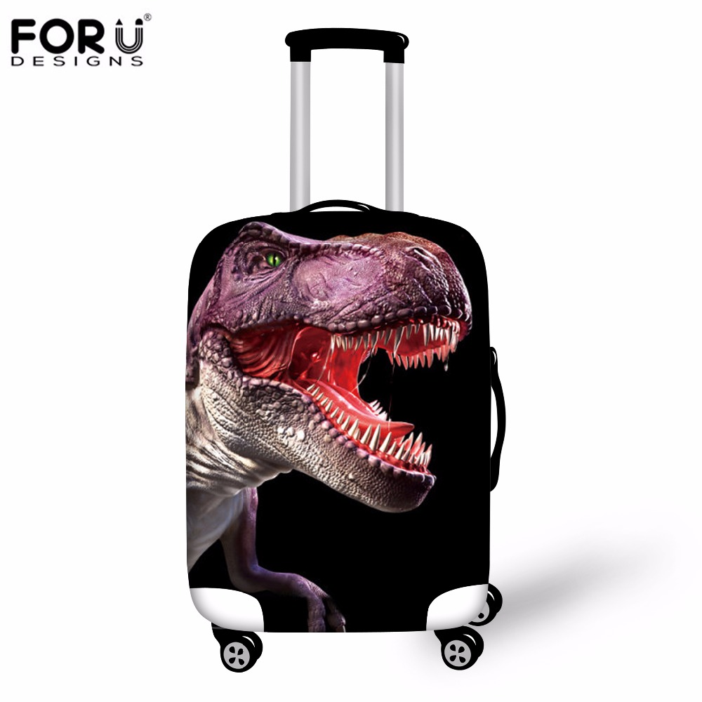 FORUDESIGNS 3D Dinosaur Animal Luggage Cover Waterproof Elastic Men Travel Suitcase Covers For 18 20 22 24 26 28 30 Inch Cases