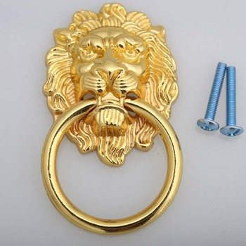 freen shipping length 90mm bigger size drop rings lionhead drawer cabinet dresser door pull knob gold large meatball handle