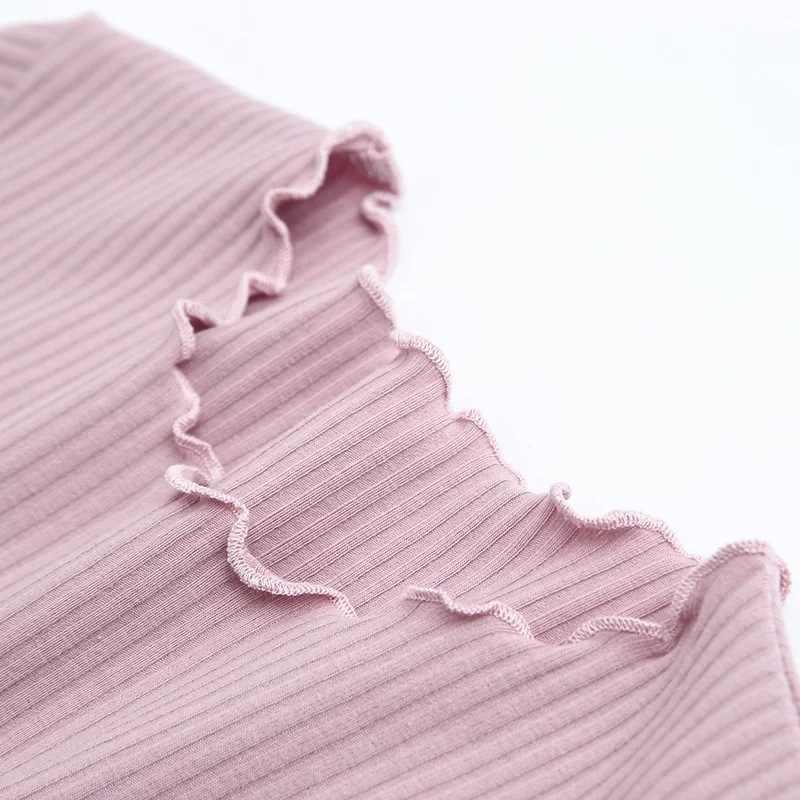 בציר עץ אוזני O צוואר קצר שרוול חולצה 2018 חדש אישה Slim Fit t חולצה הדוק טי קיץ רטרו חולצות 6 צבעים