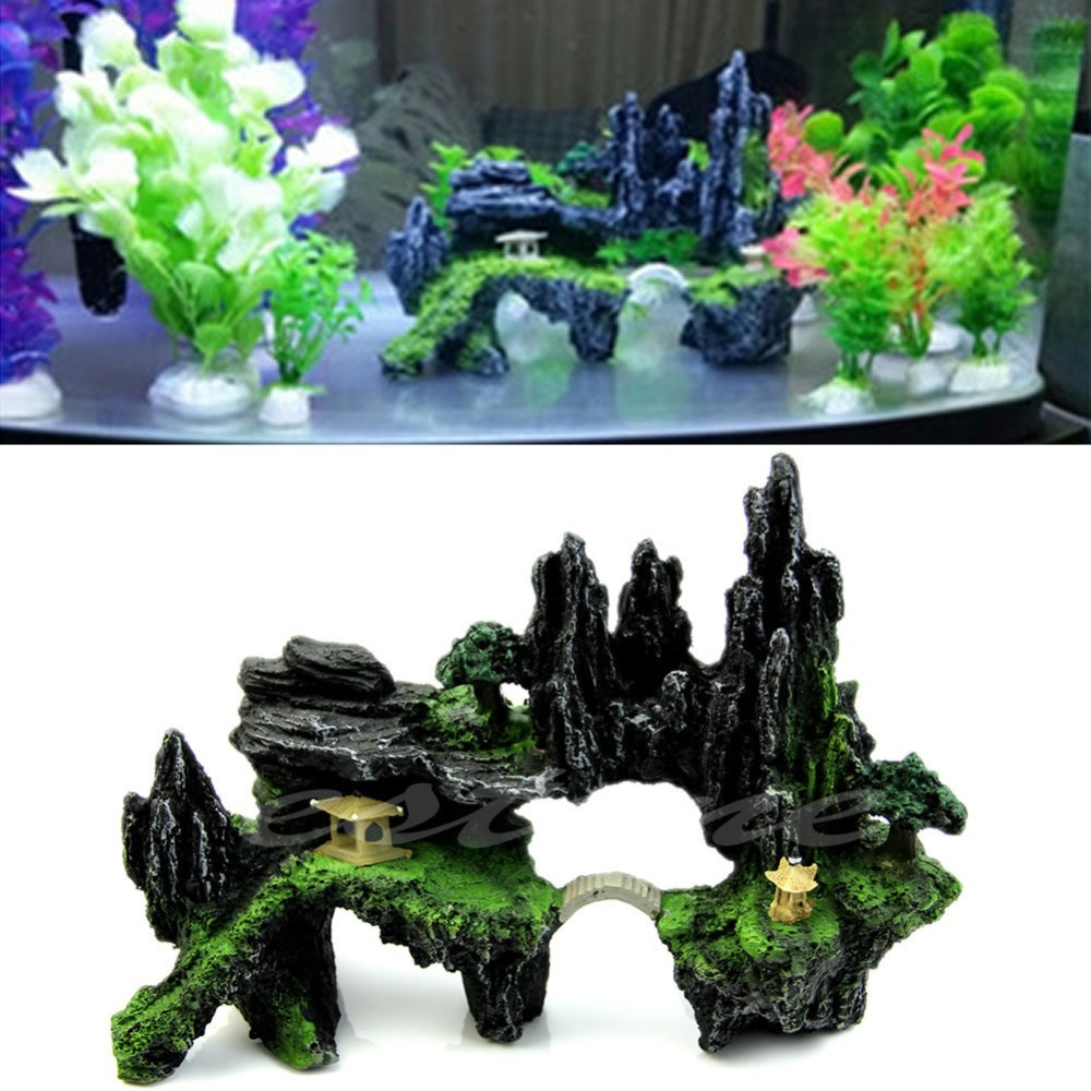 Fish tank decorations zombie - Mountain View Aquarium Tree House Cave Bridge Fish Tank Ornament Decoration New China