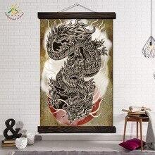дешево!  Япония Дракон Животных Стены Искусства Отпечатки На Холсте Картина Кадр Прокрутки Живопись Висит