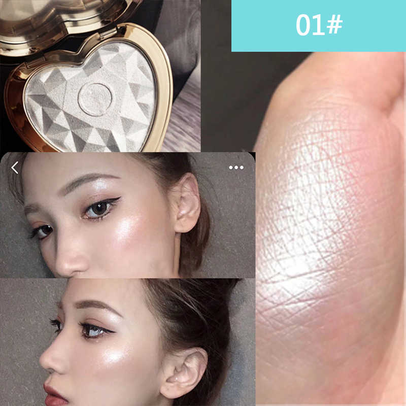 Face Shimmer Highlighter Bronzer Powder Palette High-Gloss Contouring แต่งหน้า Glitter Illuminator Highlight เครื่องสำอางค์ TSLM2