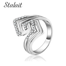 Unique Geometric Square Hollow Ring Trendy Zircon Silver Color Ring For Women Girl Wedding Party Gift Creative Jewelry