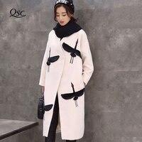 Женское шерстяное пальто 2018 Большие размеры корейский стиль осень зима длинный дикий гусь Вышивка женское плотное пальто для женщин