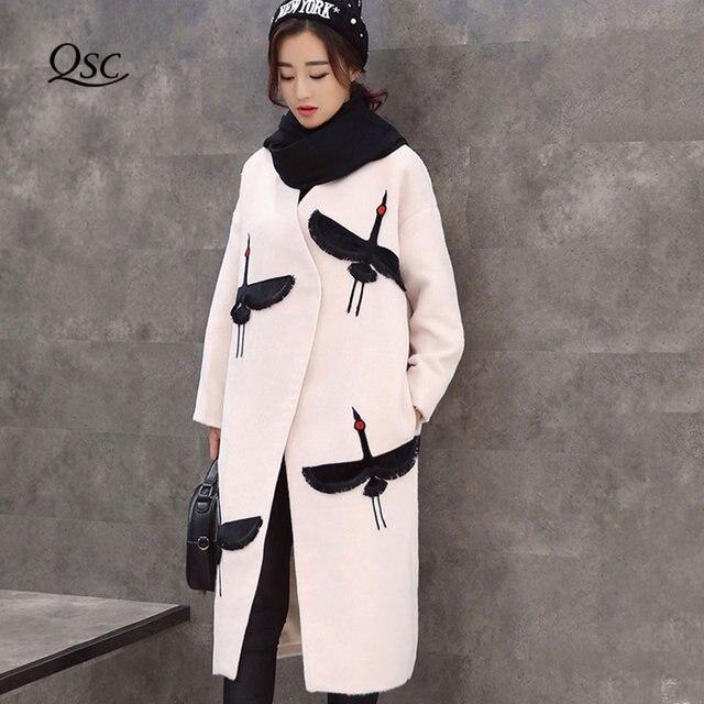 737c651f7 Mulheres Casaco de Lã 2018 Plus Size Coreano Outono Inverno Longo Ganso Selvagem  Bordado Feminino Casaco