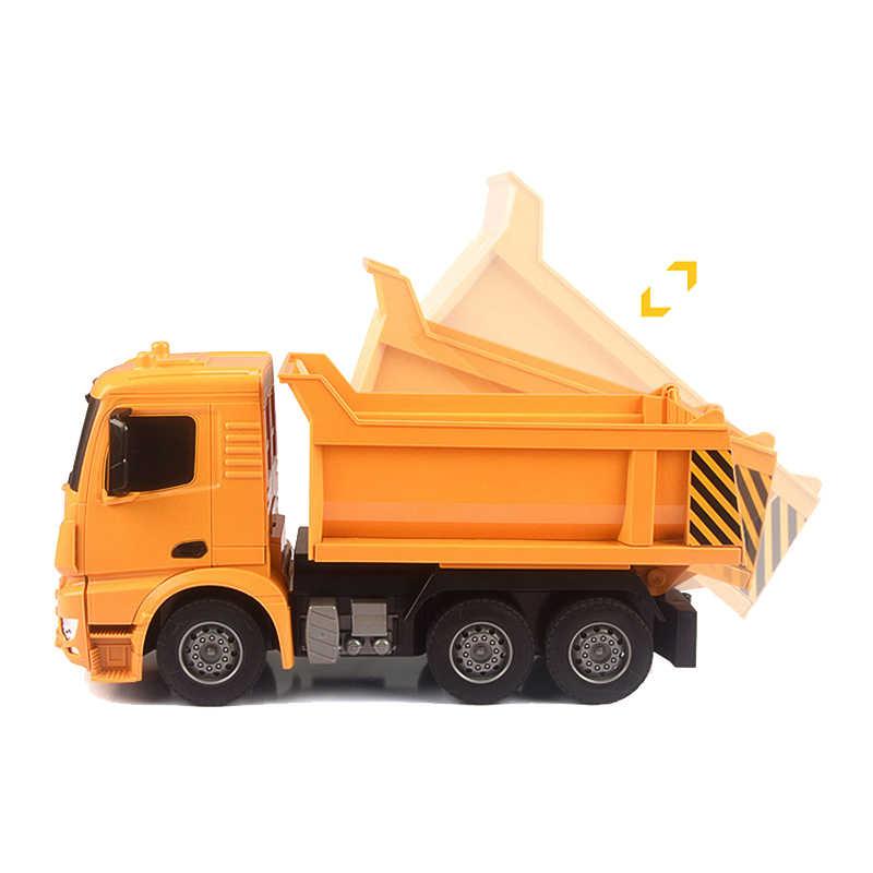 2,4 г RC автомобили самосвал игрушки для детей мальчиков рождественские день рождения подарки желтый цвет RC инженерный грузовик модель Мальчиков пляжные игрушки