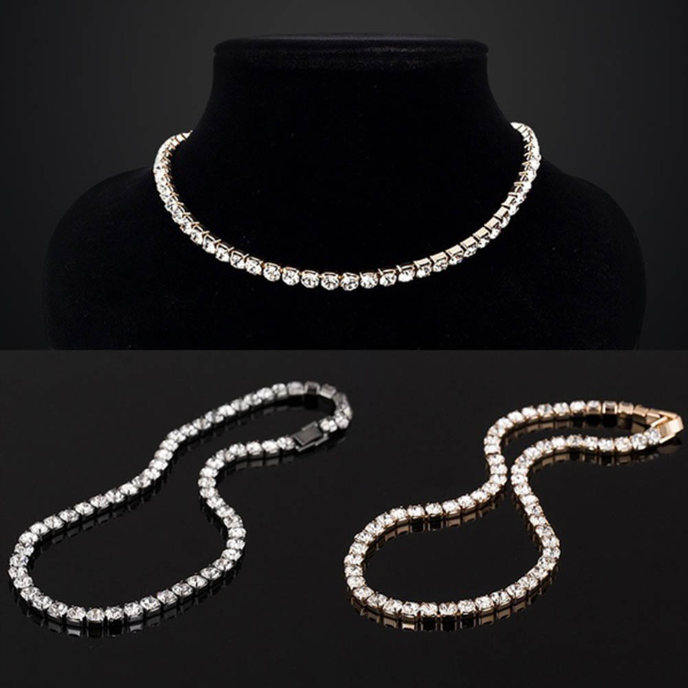 New Women Jewelry Dazzling CZ Choker Necklaces Luxury Tennis Chain Necklace Gift
