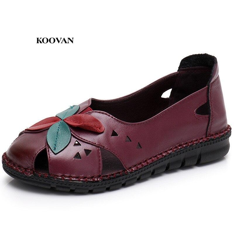 Koovan/женские сандалии из натуральной кожи; Новинка 2018 года; Кожаные сандалии для мам среднего возраста; Летние сандалии с цветочным узором на